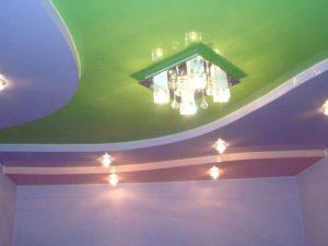 трехуровневый натяжной потолок