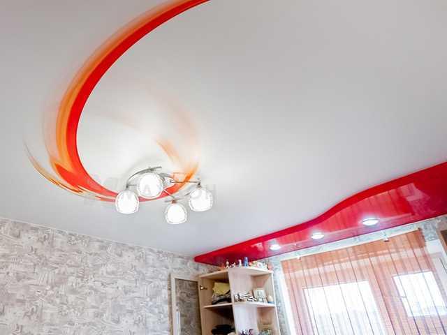 Натяжной потолок 2 уровня с фотопечатью
