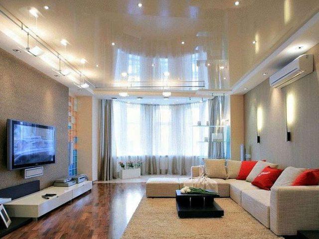 Воейково, Глянцевый натяжной потолок в гостинную, Стоимость 14200 рублей